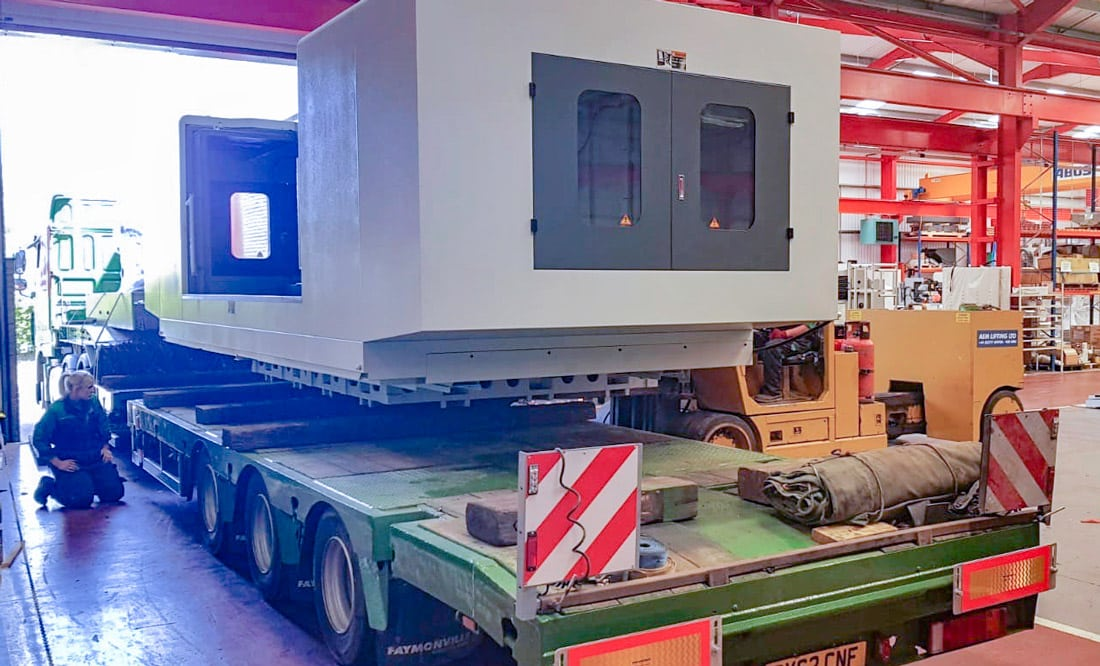 The heavy-duty, 25 tonne, XYZ 3010 vertical machining centre being loaded ready for delivery to Pendle Engineering