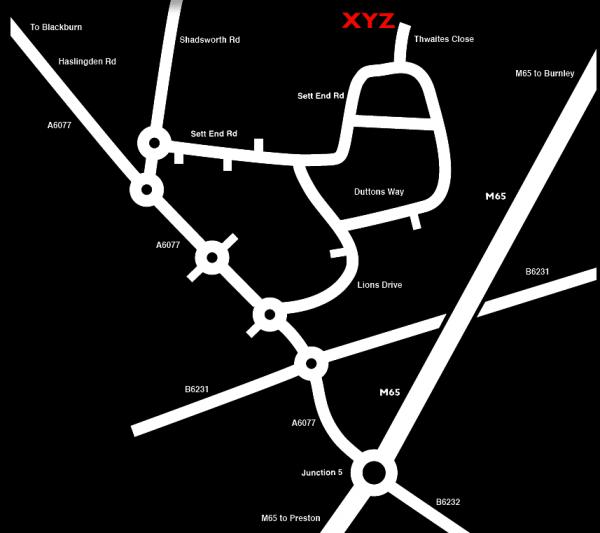 XYZ Machine Tools Blackburn Map